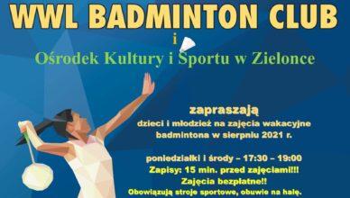 Bezpłatne zajęcia badmintona dla dzieci i młodzieży w Zielonce