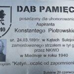 Dąb Pamięci dla aspiranta Konstantego Piotrowskiego